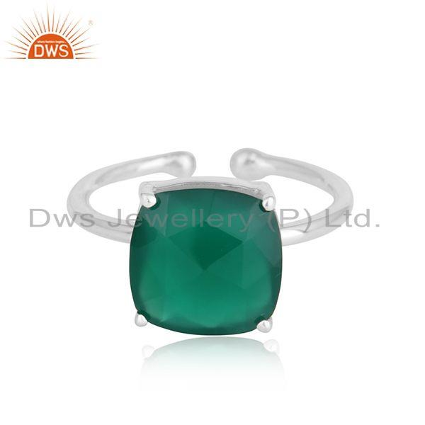 Green onyx gemstone designer sterling silver adjustable rings