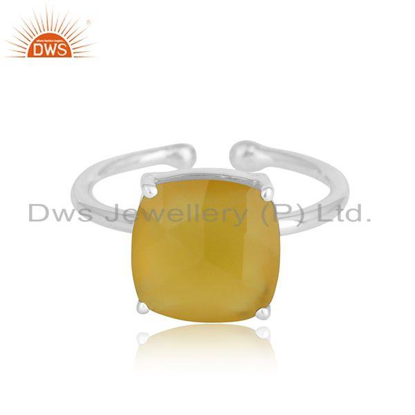 Yellow Chalcedony Gemstone Designer 925 Sterling Fine Silver Rings