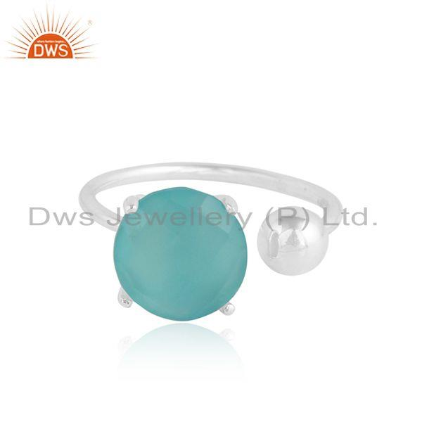 Aqua Chalcedony Prong Set Designer 925 Sterling Silver Ring Jewelry