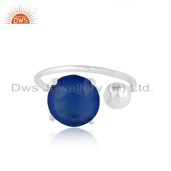 Natural Blue Chalcedony Gemstone Fine Sterling Silver Ring Jewelry