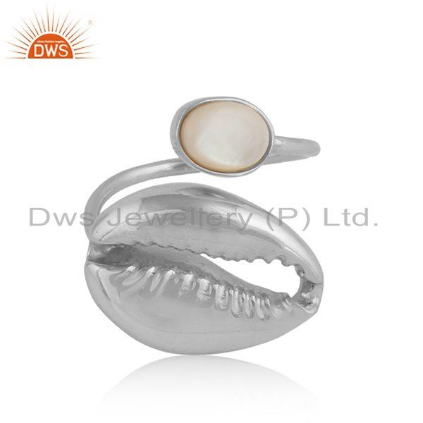 Mother of Pearl Gemstone Cowrie Design Sterling Silver Ring Jewelry