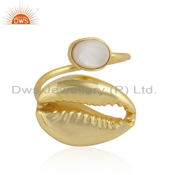 Mother of Pearl Cowrie Yellow Gold Plated Handmade Silver Rings