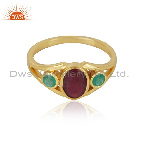 Trendy design 3 stone yellow gold on silver ring with emerald ruby