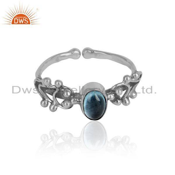 Oxidized 925 silver designer blue topaz gemstone womens rings