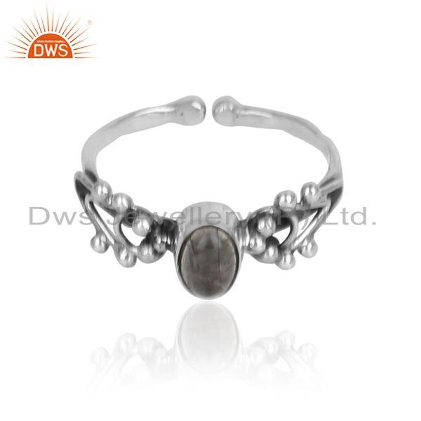 Black rutile gemstone designer 925 sterling silver oxidized rings