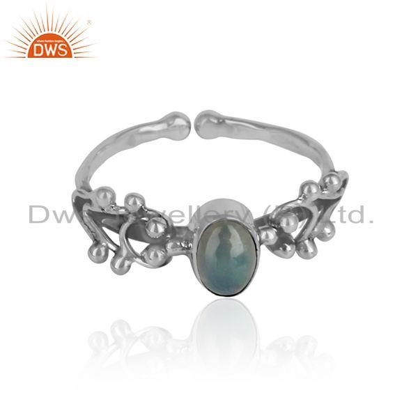 Ethiopian opal gemstone girls oxidized 925 silver designer rings