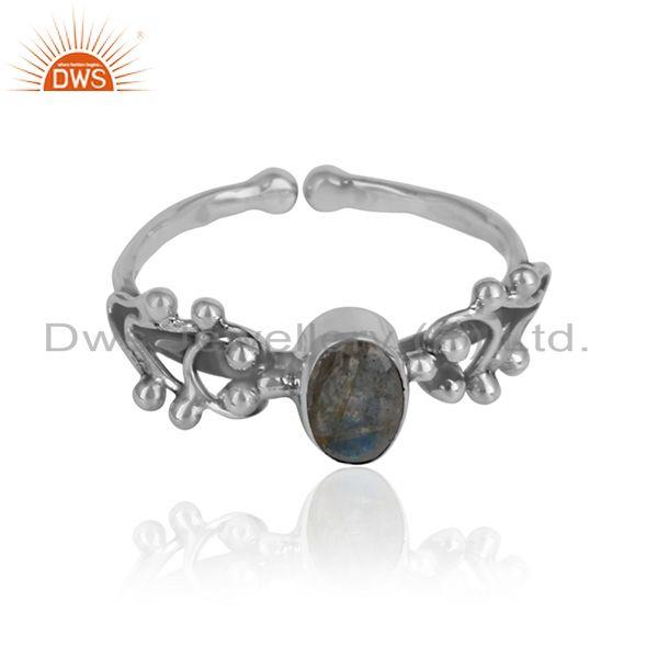 Labradorite gemstone womens oxidized 925 silver ring jewelry