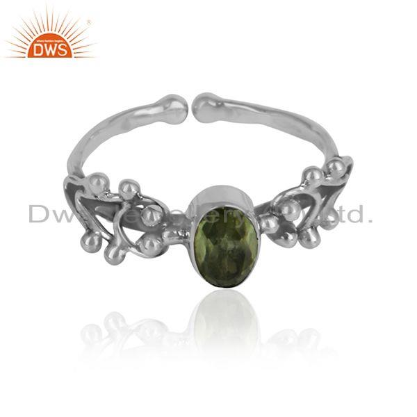 Peridot gemstone womens 925 silver oxidized designer ring jewelry