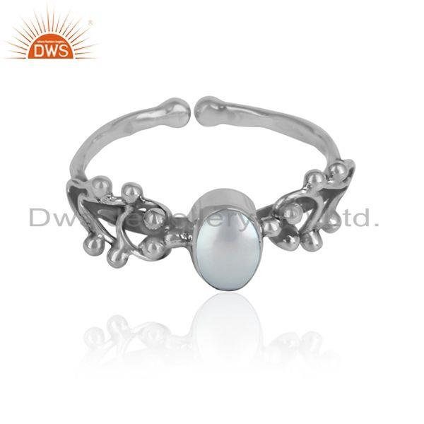 Handmade 925 sterling silver oxidized pearl gemstone girls rings
