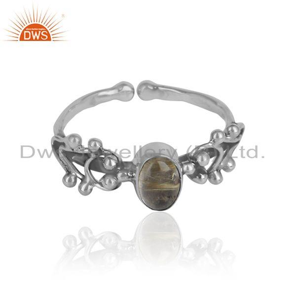 Golden rutile gemstone oxidized 925 silver designer girls rings
