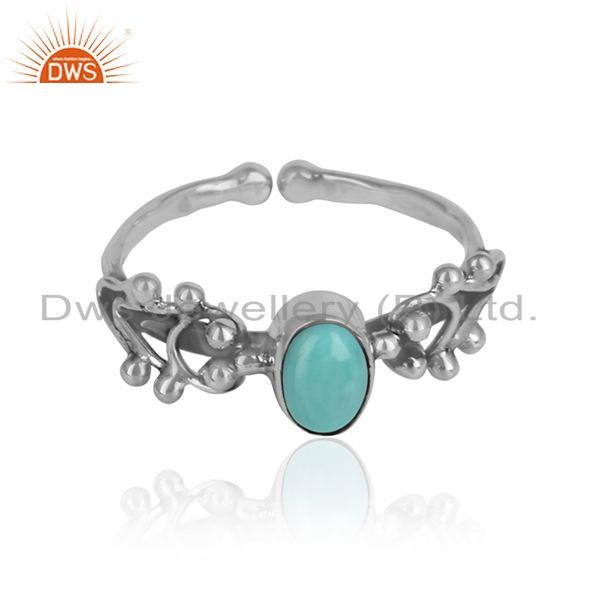 Arizona turquoise gemstone oxidized 925 silver handmade rings