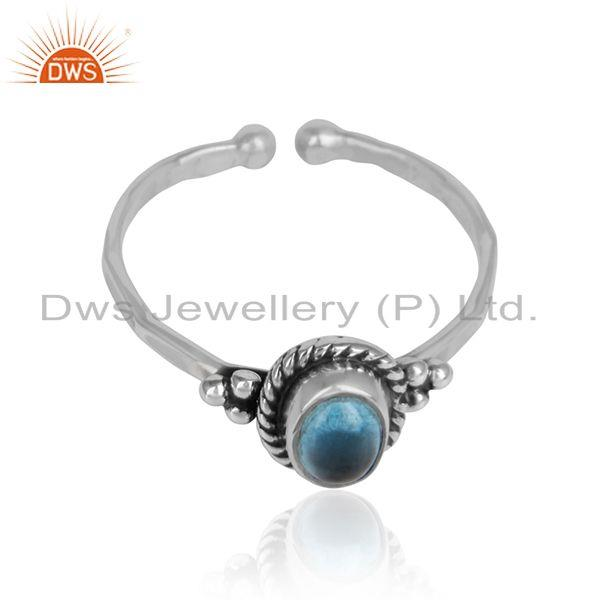 Designer oxidized silver blue topaz gemstone womens rings jewelry