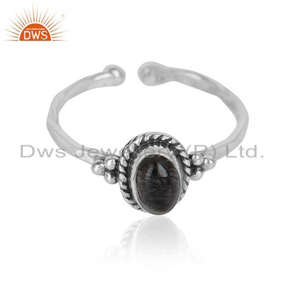 Black Rutile Gemstone Oxidized 925 Sterling Silver Designer Rings