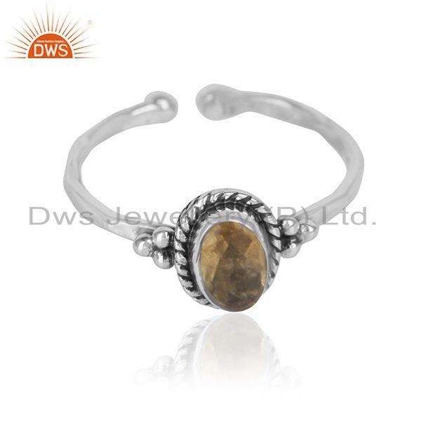 Black oxidized 925 silver designer citrine gemstone rings jewelry