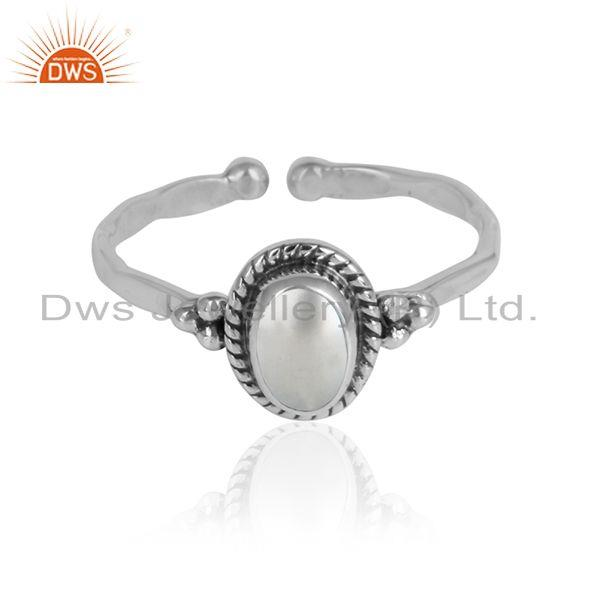 Natural pearl gemstone designer oxidized 925 sterling silver ring