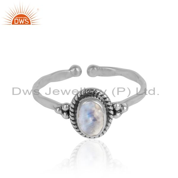 Rainbow moonstone designer sterling silver oxidized rings jewelry