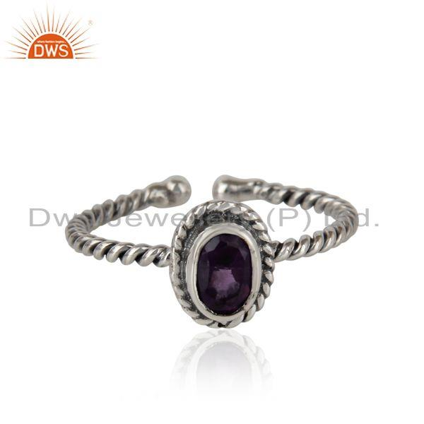 Amethyst gemstone designer twisted silver oxidized ring jewelry