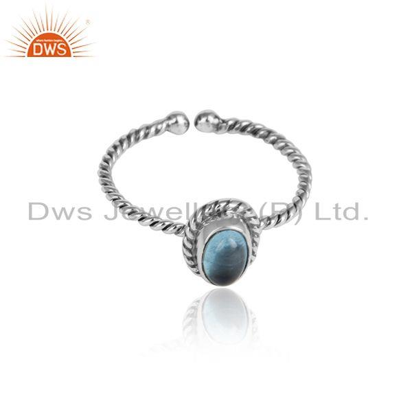 Twisted design oxidized 925 silver blue topaz gemstone ring jewelry