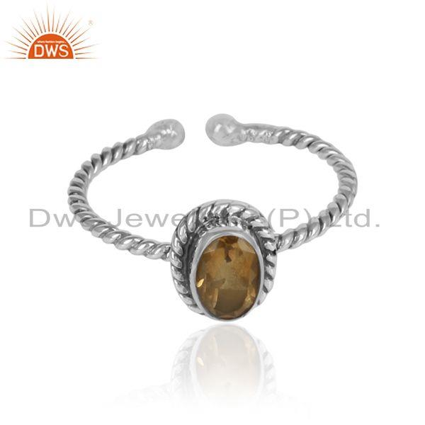 Twisted oxidized 925 silver citrine gemstone designer rings
