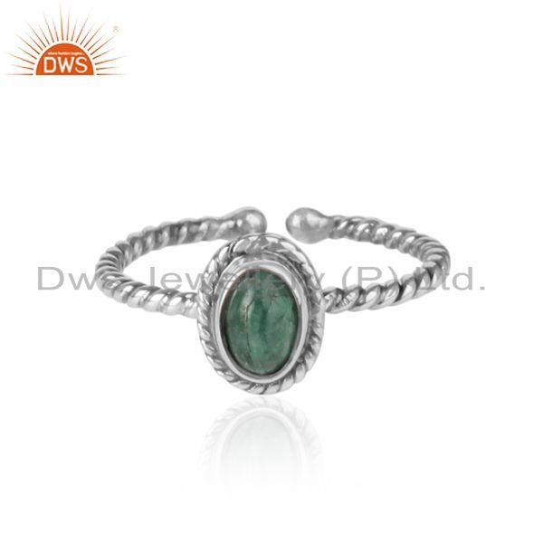 Emerald gemstone designer twisted silver oxidized ring jewelry