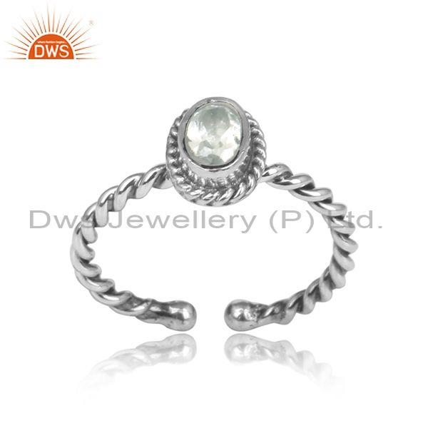 Wrapped Oval Green Amethyst Set Oxidized Silver Twisted Ring