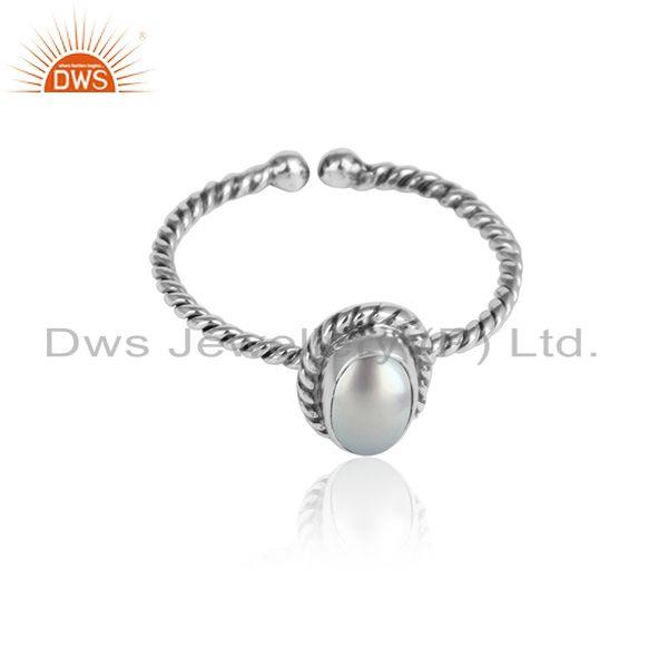 Natural pearl gemstone designer oxidized 925 streling silver rings