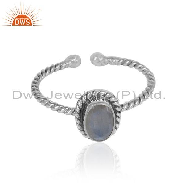 Rainbow moonstone gemstone twisted silver oxidized rings jewelry