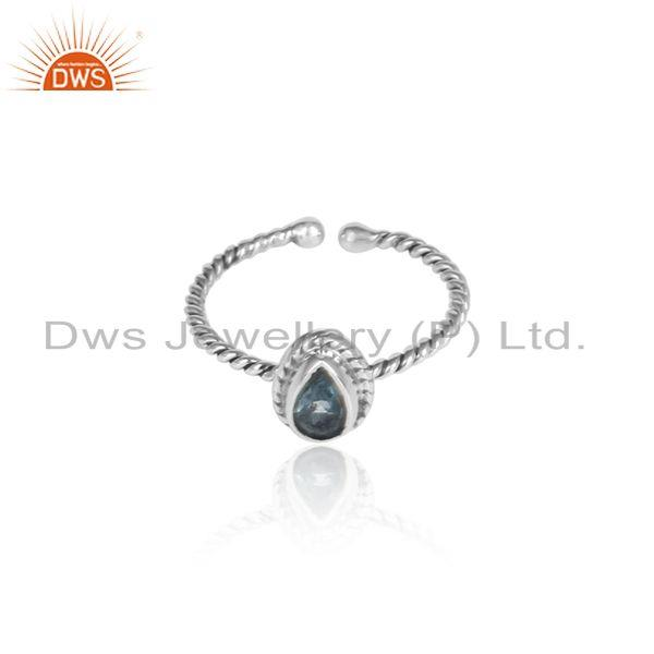 Blue topaz gemstone designer twisted oxidized 925 silver rings