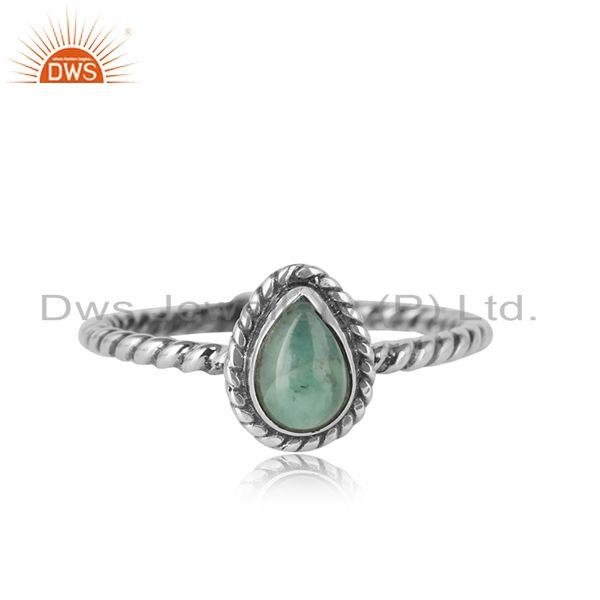 Emerald gemstone designer 925 sterling silver oxidized rings