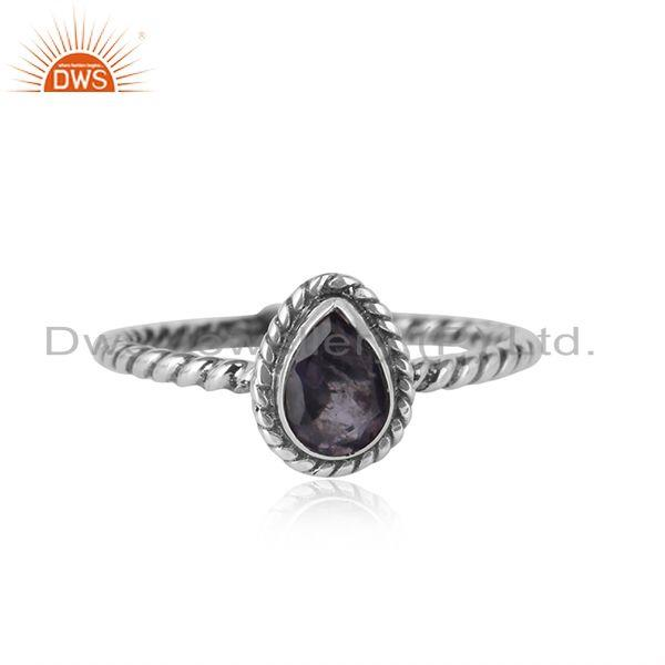 Iolite Gemstone Designer 925 Sterling Silver Oxidized Rings