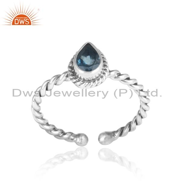 London Blue Topaz Set Sterling Silver Oxidized Twisted Ring