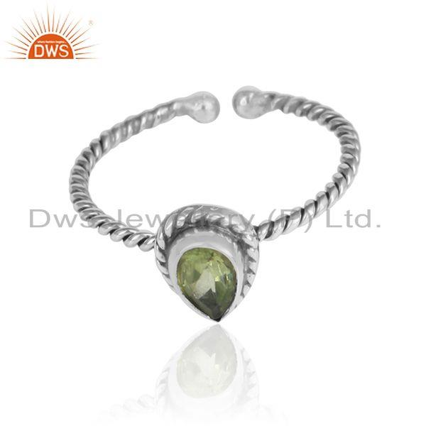 Peridot gemstone designer girls 925 sterling silver oxidized ring