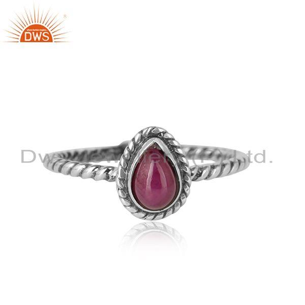 Ruby Gemstone Designer 925 Sterling Sterling Silver Oxidized Ring