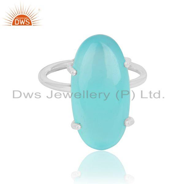 Aqua chalcedony gemstone prong set 925 sterling fine silver rings