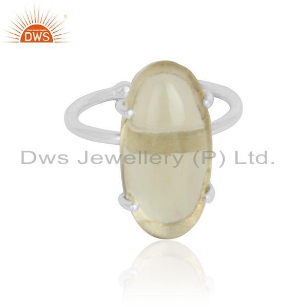 Oval Lemon Topaz Gemstone Designer Sterling Fine Silver Rings