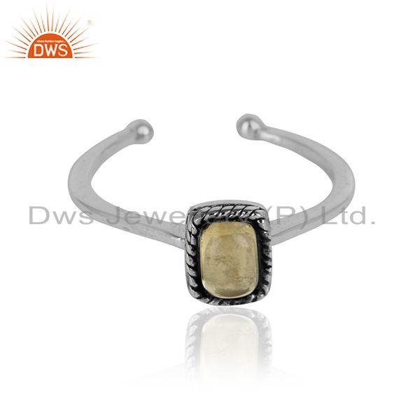 Citrine gemstone handmade oxidized 925 silver girls ring jewelry