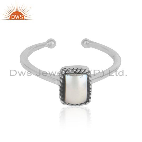 Natural pearl gemstone womens oxidized 925 silver ring jewelry