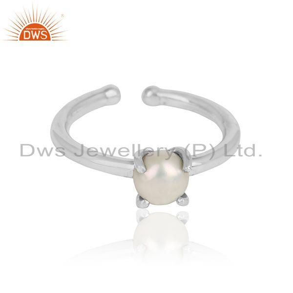 Prong Set Pearl Gemstone Designer Sterling Silver Ring Jewelry