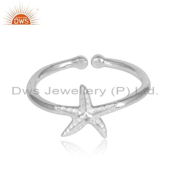 White zircon star design 925 sterling fine silver womens rings