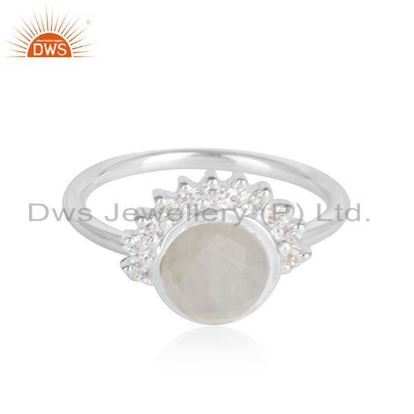 Cz rainbow moonstone gemstone womens sterling fine silver rings