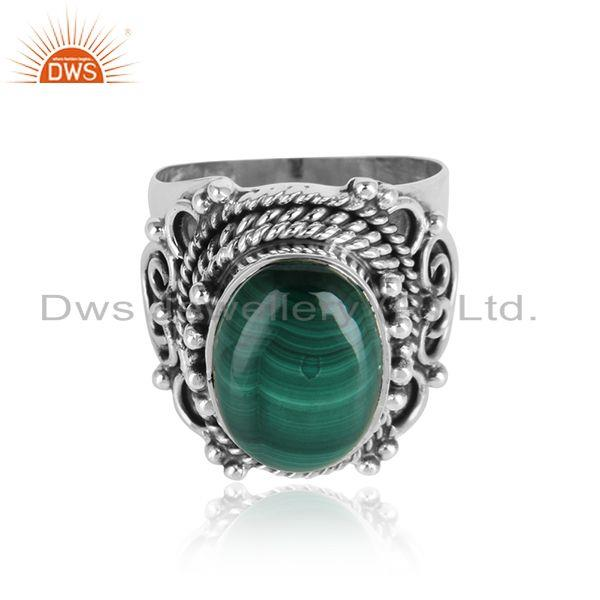 Malachite Gemstone Designer Oxidized 925 Sterling Silver Rings