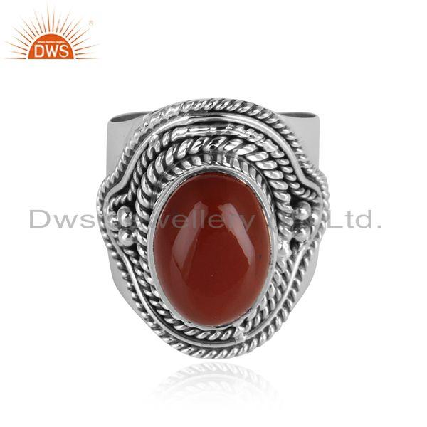 Handmade antique oxidized 925 silver red jasper gemstone rings