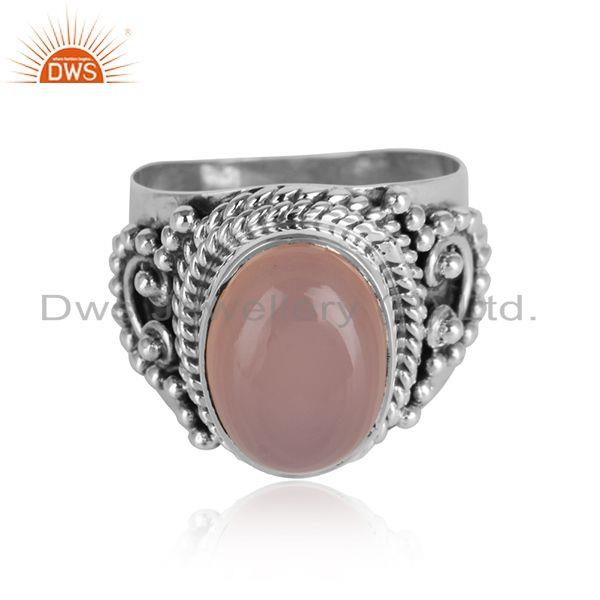 Rose chalcedony gemstone designer antique oxidized silver rings