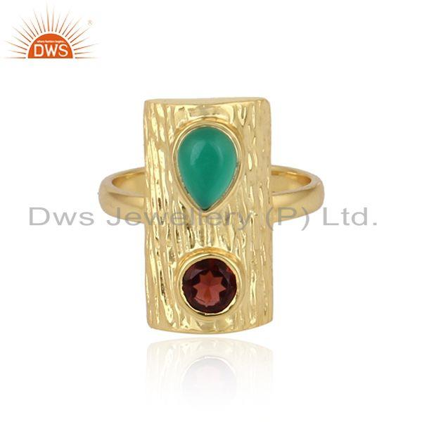 Vintage design gold plated silver green onyx garnet gemstone rings