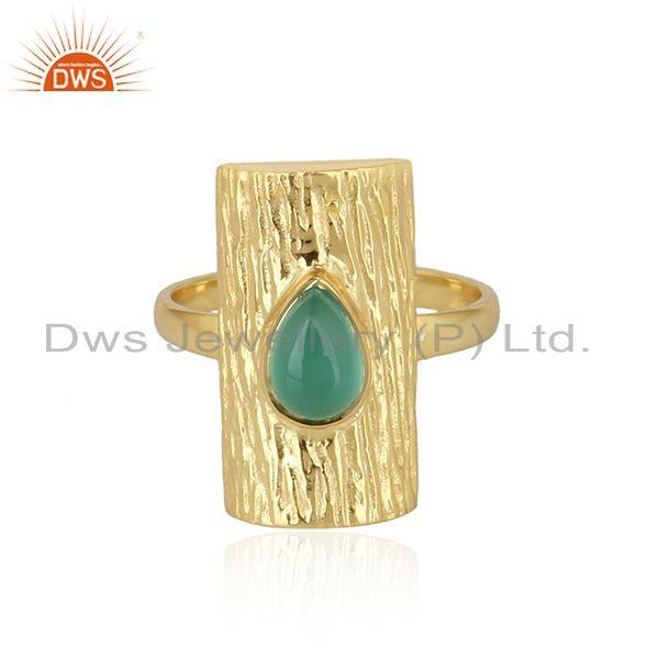 Natural green onyx gemstone vintage design gold plated silver rings