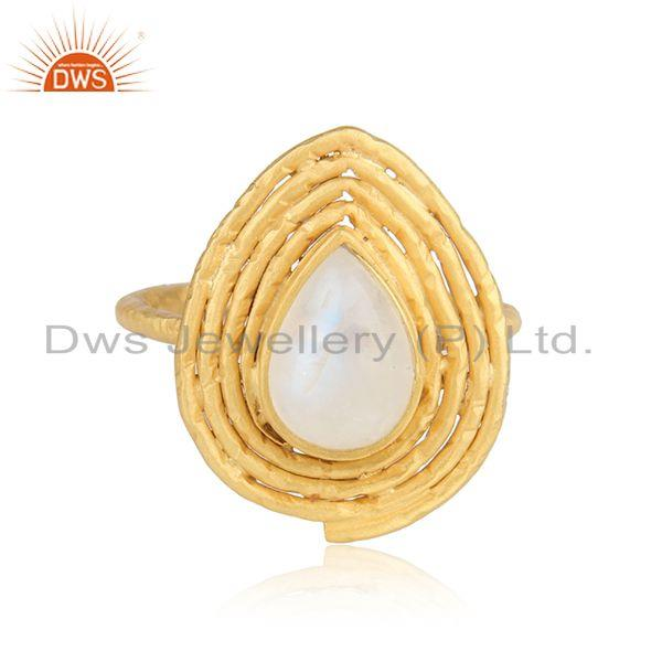 Handmade gold plated 925 silver rainbow moonstone gemstone rings