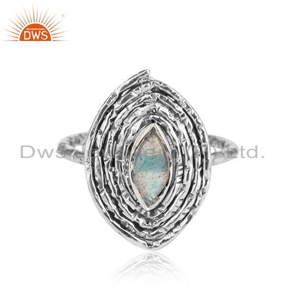 Oxidized Sterling Silver Labradorite Gemstone Designer Ring Jewelry