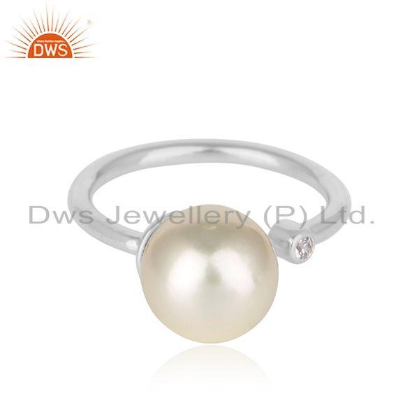 White rhodium plated silver cz pearl gemstone designer womens rings