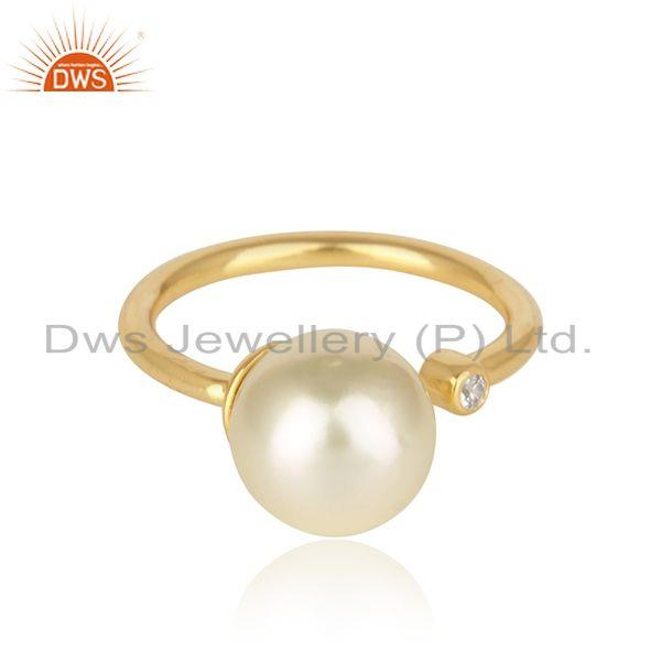 Cz natural pearl gemstone 18k gold plated designer 925 silver rings