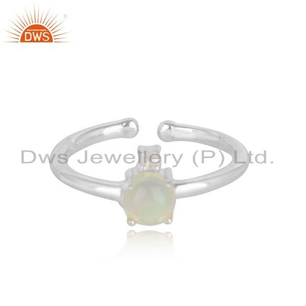 Designer solid silver ring with ethiopian opal and white topaz